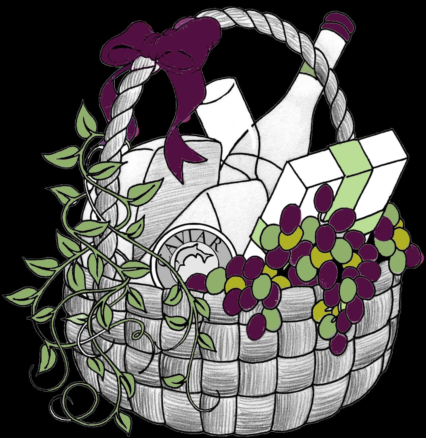 Wine clipart gift hamper Clip Basket Art Clipart Gift