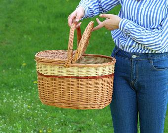 Picnic Basket clipart market basket Wicker Basket Willow Handwoven Willow