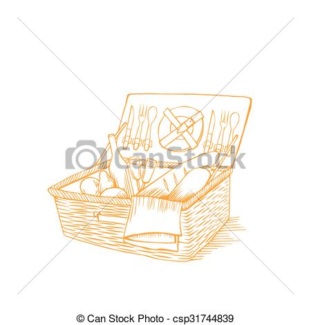 Picnic Basket clipart outline Picnic with drinks vintage food