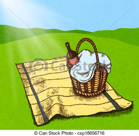 Basket clipart field Vector Picnic basket wine on