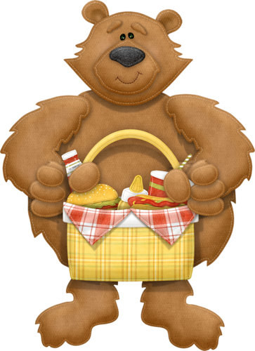 Picnic Basket clipart printable CLIP GRAPHICS with Bear basket