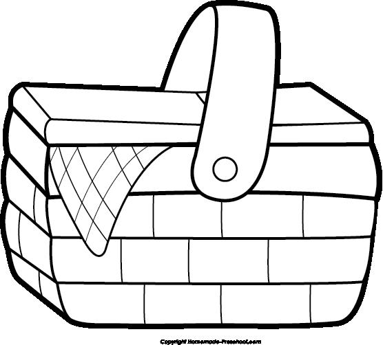 Picnic clipart black and white Black Picnic Picnic free basket