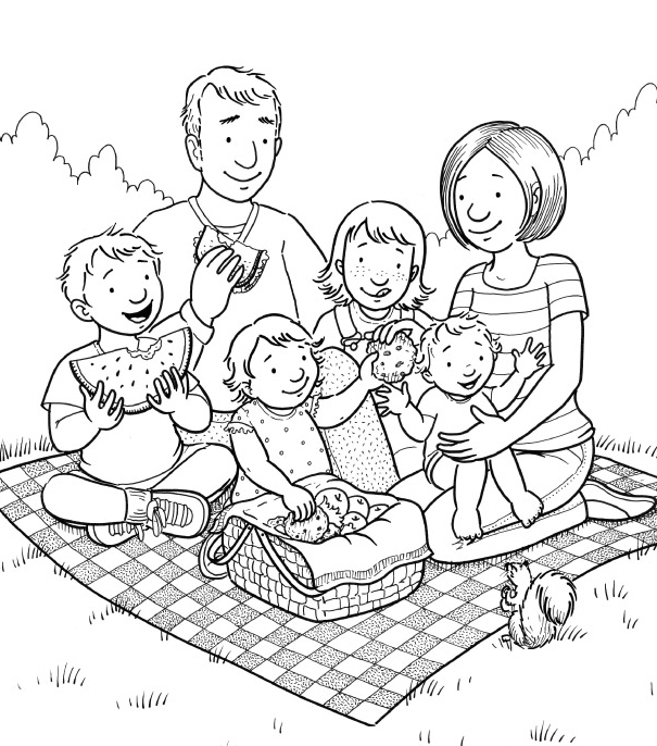 Picnic clipart black and white Cliparts Family Clipart Picnic Family