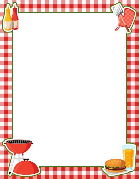 Picnic clipart page border Page Bbq Border basket clipart