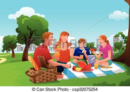 Picnic clipart picnic park In a Vector Picnic Having