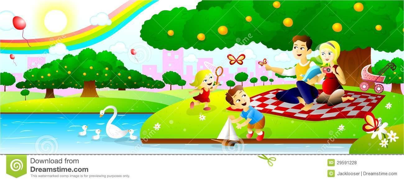 Picnic clipart picnic park Illustration At Park Picnic Family