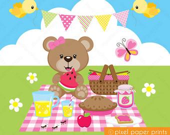Picnic clipart picnic party Bear Bear and art Etsy