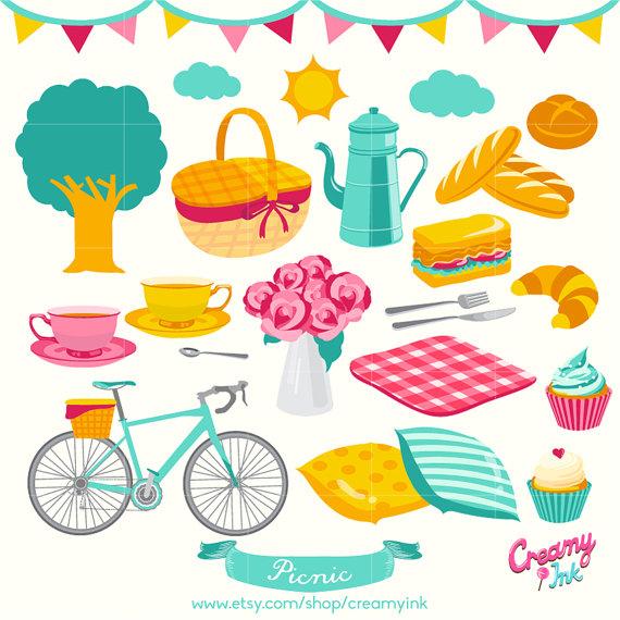 Picnic clipart picnic party Digital Digital CreamyInk Clipart /