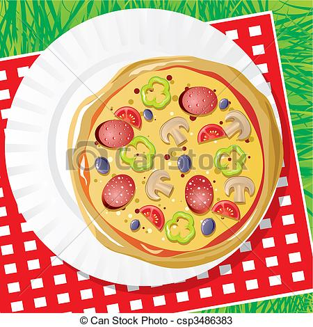 Picnic clipart pizza Vector pizza Un pizza plato