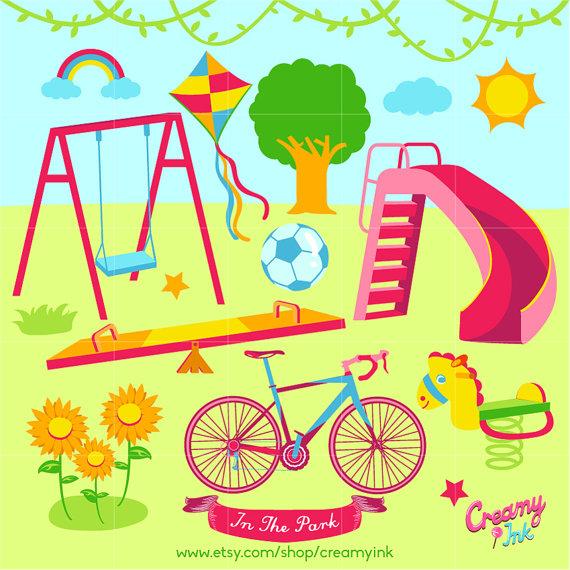 Picnic clipart playground Digital / Vector Clip Il_570xn