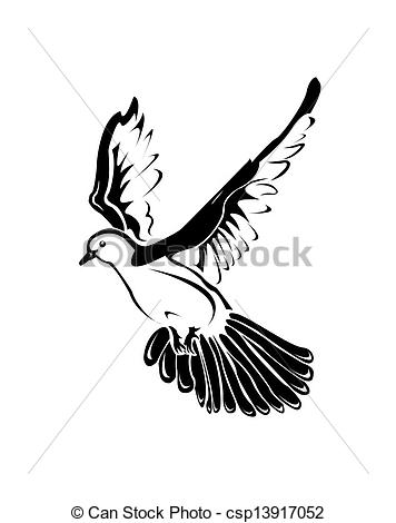 White clipart pigeon flying White a black pigeon and