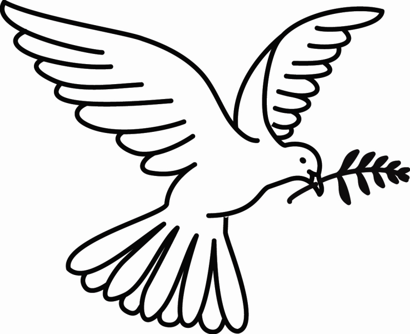 Peace Dove clipart coloring page #5