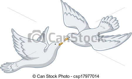 White clipart pigeon flying Together Vector  of Pigeons