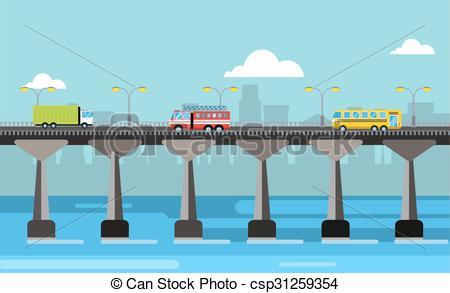 Pier clipart bridge Night bridge view Vector illustration