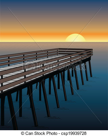 Pier clipart vector The Sunset Pier Vector Clipart