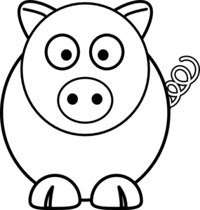 Cartoon clipart black and white White Cartoon Pig vector at