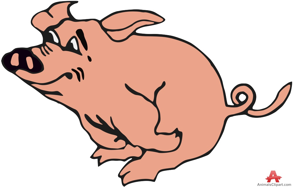 Animl clipart pork Happy Pig Running Clipart Clipart