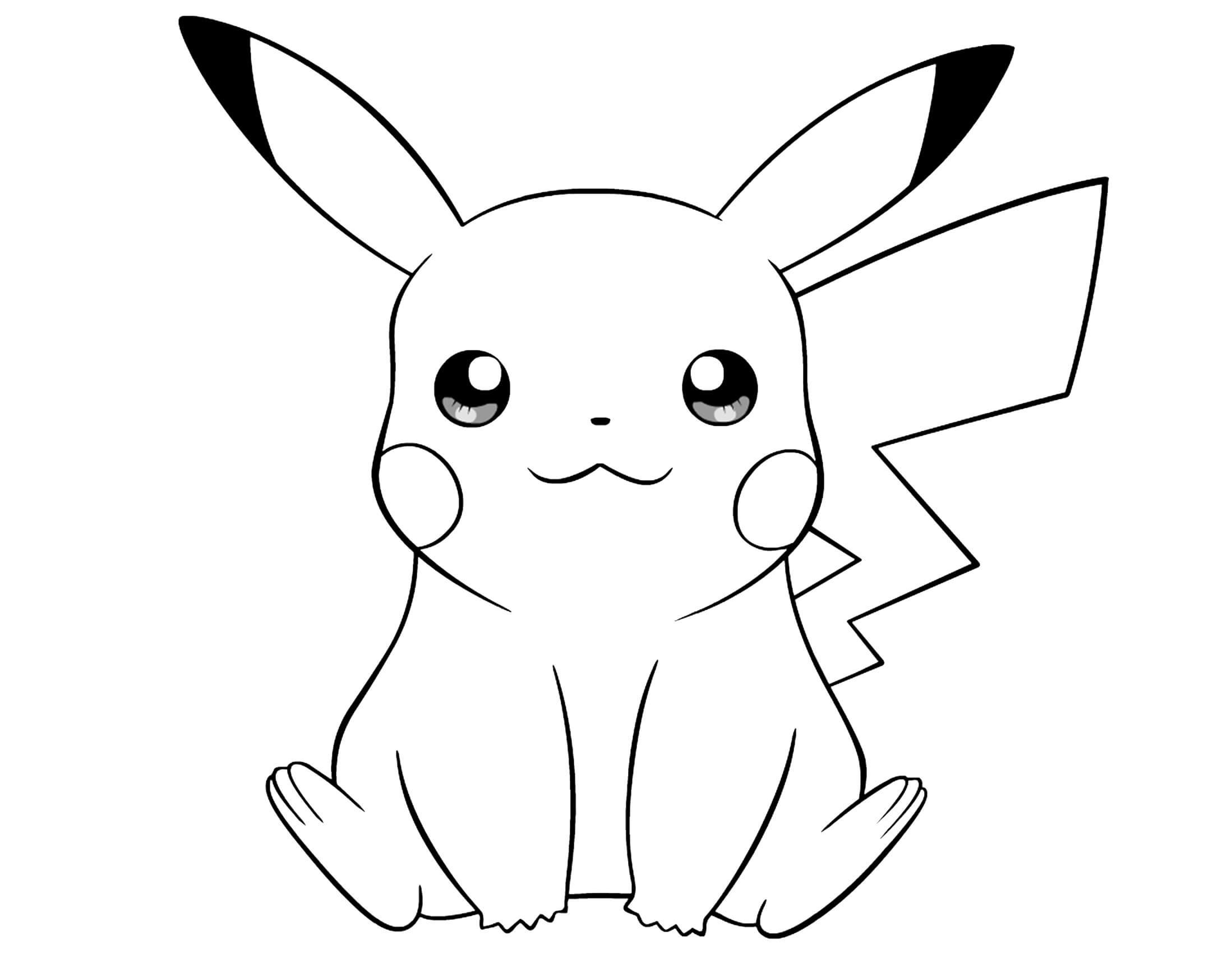 Pikachu clipart coloring page printable Pages coloring to Pikachu print
