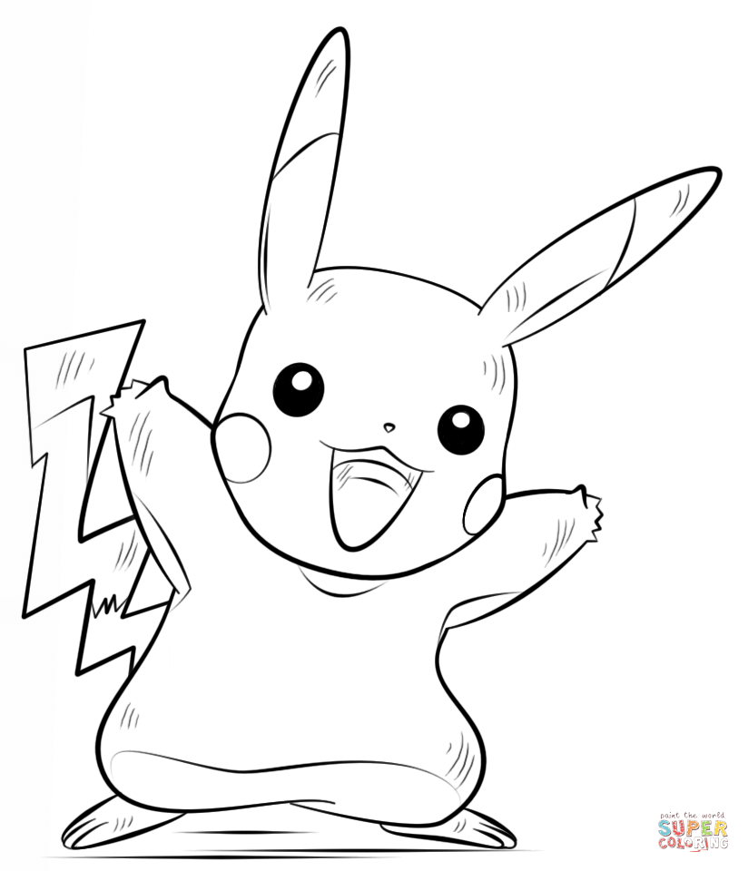Pikachu clipart colouring page #14