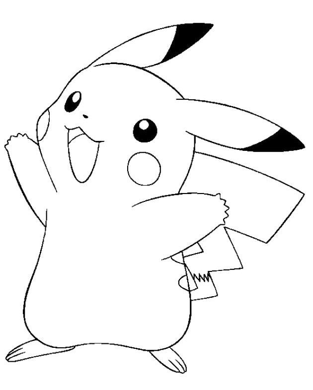 Pikachu clipart colouring page #1