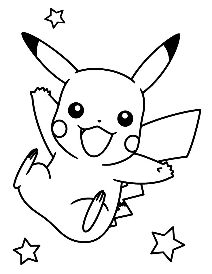 Pikachu clipart colouring page #3