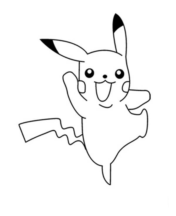 Pikachu clipart colouring page #9