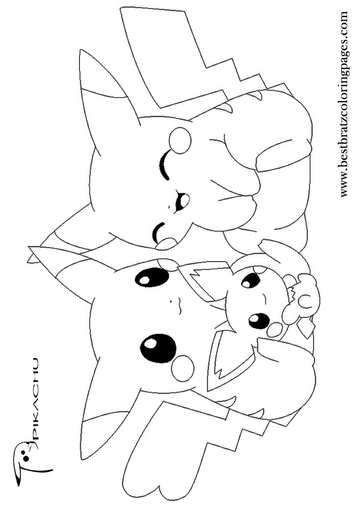 Pikachu clipart colouring page #11