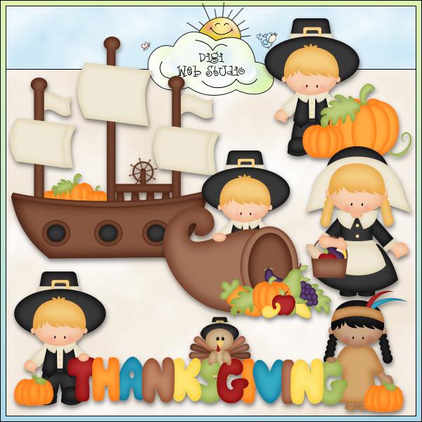 Thanksgiving clipart thanksgiving day Day Pilgrims Designs Digi Kristi