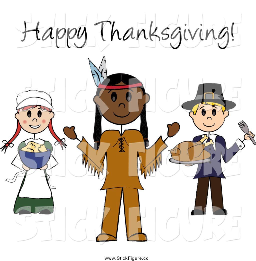Pilgrim clipart cowboy indian Happy Free Stick Text Thanksgiving