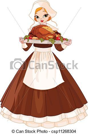 Pilgrim clipart lady #5