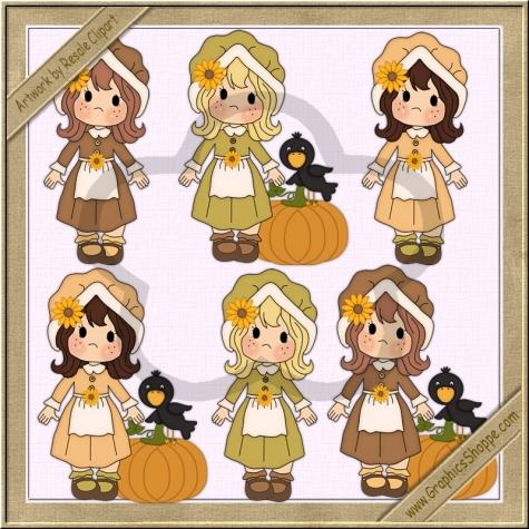 Pilgrim clipart little Girls Pilgrim by Little Graphics