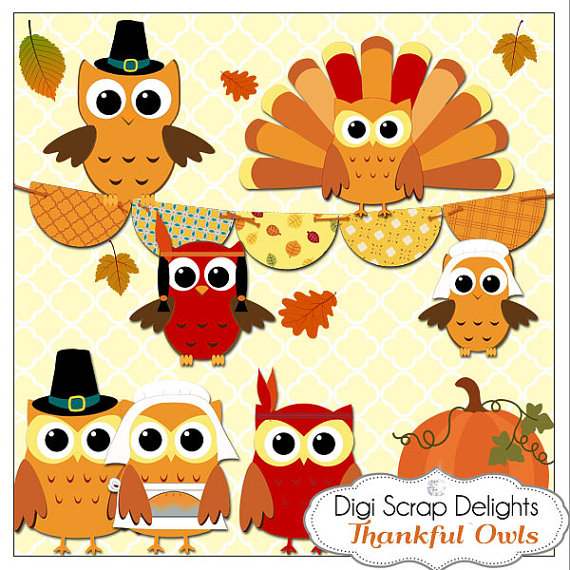 Owl clipart pilgrim Indians Clip Turkey Digital Owls