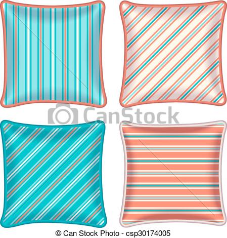 Pillow clipart four Throw striped csp30174005 Decorative of