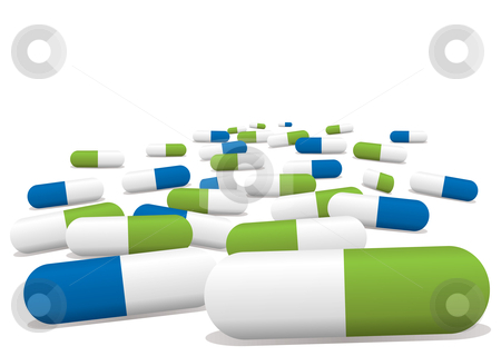 Pills clipart green Vector stock green Blue pills