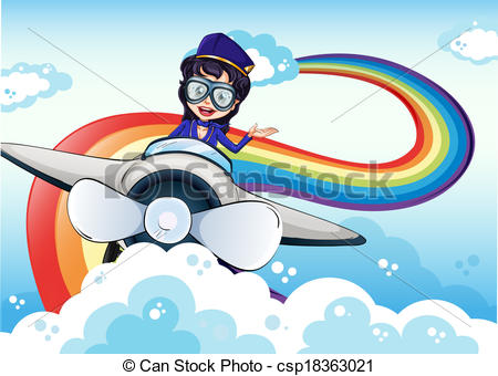Aviation clipart female pilot Plane the and rainbow the