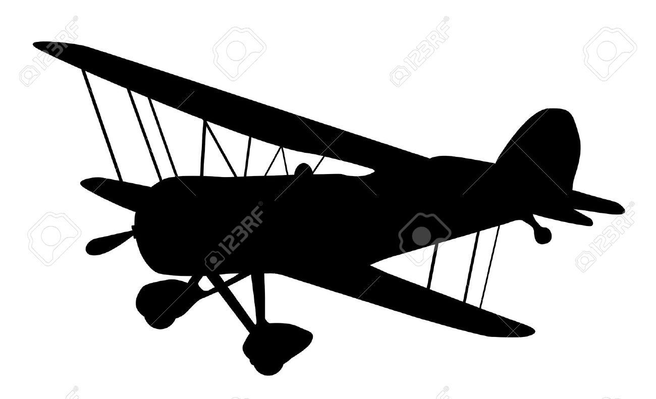 Pilot clipart old airplane Biplane Stock silhouette Vector vintage