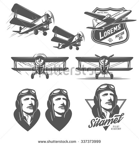 Pilot clipart old airplane Vintage  elements aircraft Biplanes