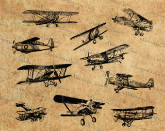 Pilot clipart old airplane PNG vintage SVG vector Planes