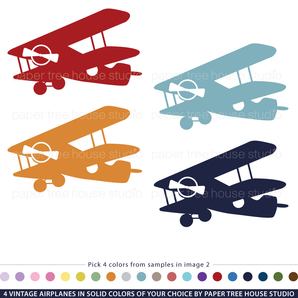 Pilot clipart red vintage airplane #9