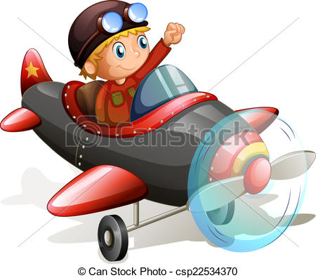 Pilot clipart red vintage airplane #11