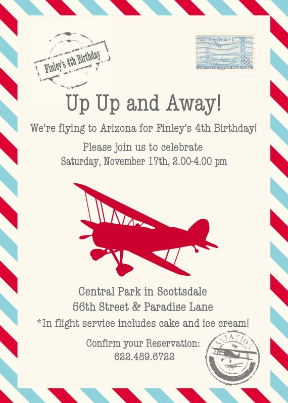 Pilot clipart red vintage airplane Party best Invitation on Airplane