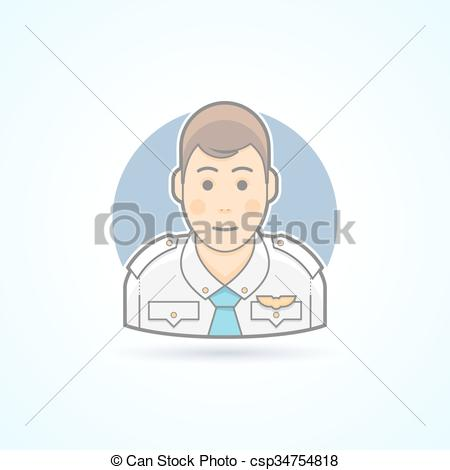 Pilot clipart steward Air Steward Vector Flat second