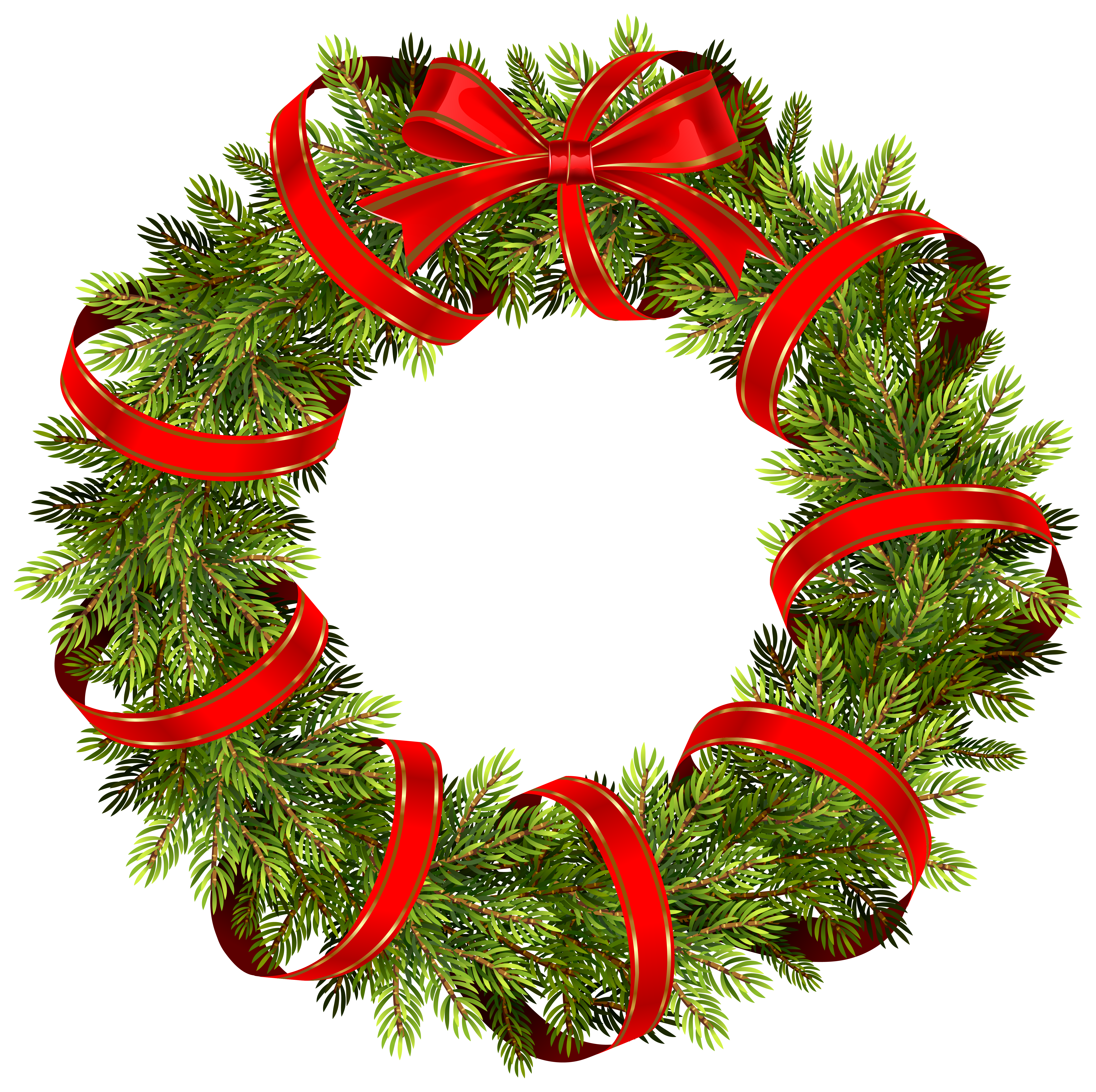 Wreath clipart transparent background  Pine Wreath Christmas with