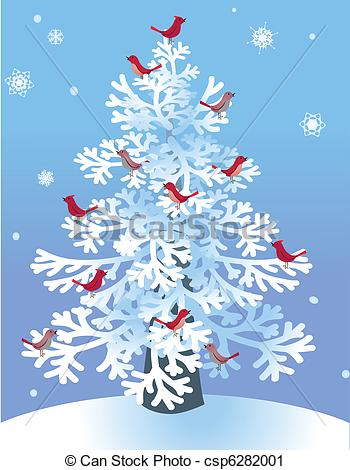 Pine clipart winter With Red Red Winter Vector