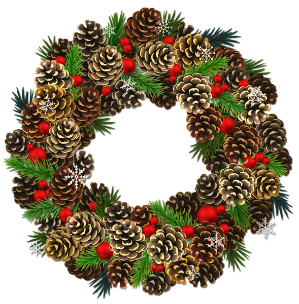 Wreath clipart transparent background Christmas Clipart PNG watercolor Pinecone