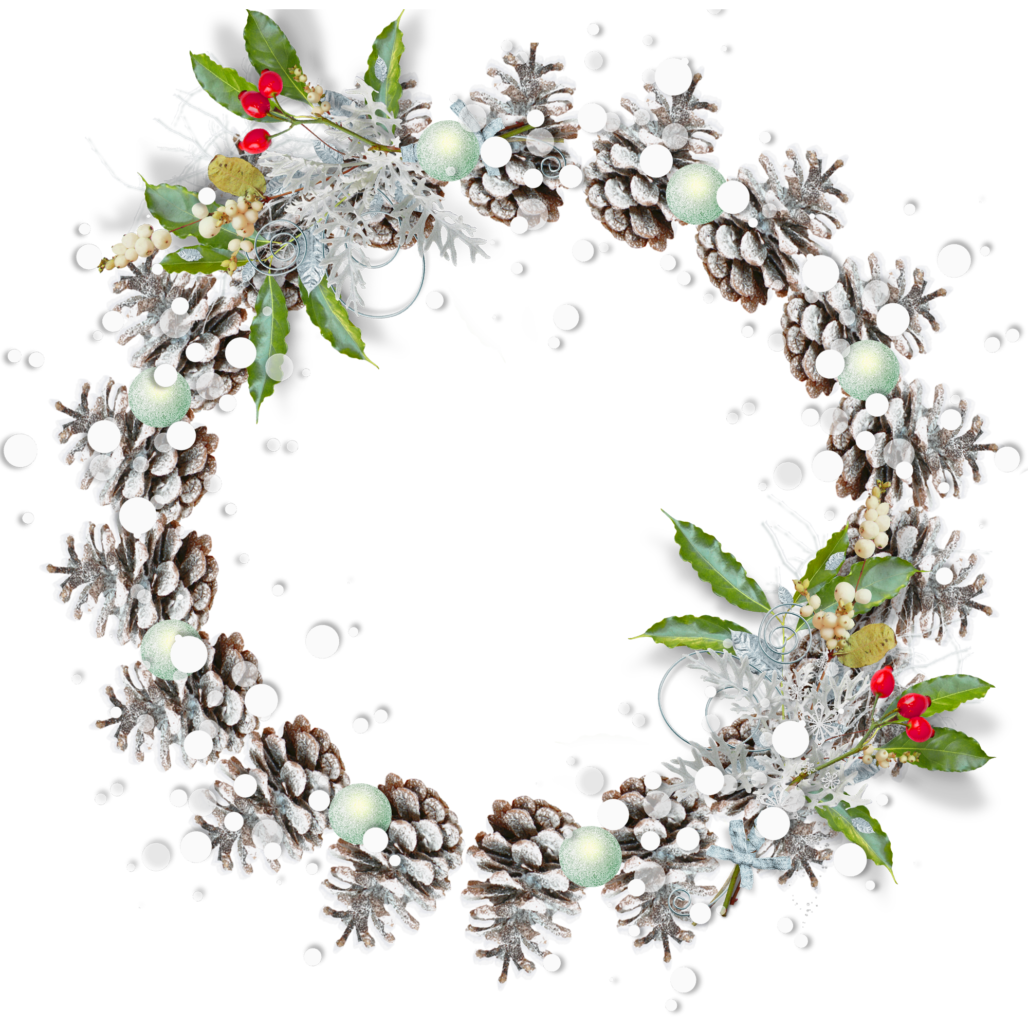 Pine Cone clipart snowy Photo PNG Transparent Frame Christmas
