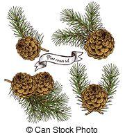 Pine Cone clipart vintage Clipart 2 vintage robbon Vector