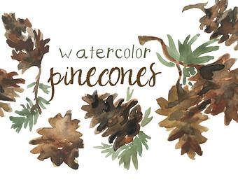 Pine Cone clipart vintage Fall Watercolor Season Scrapbooking Clipart
