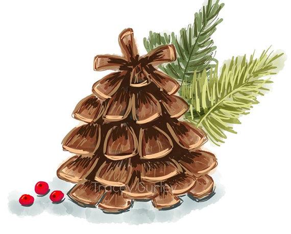 Pine Cone clipart watercolor Clip clipart Pinecone art clipart
