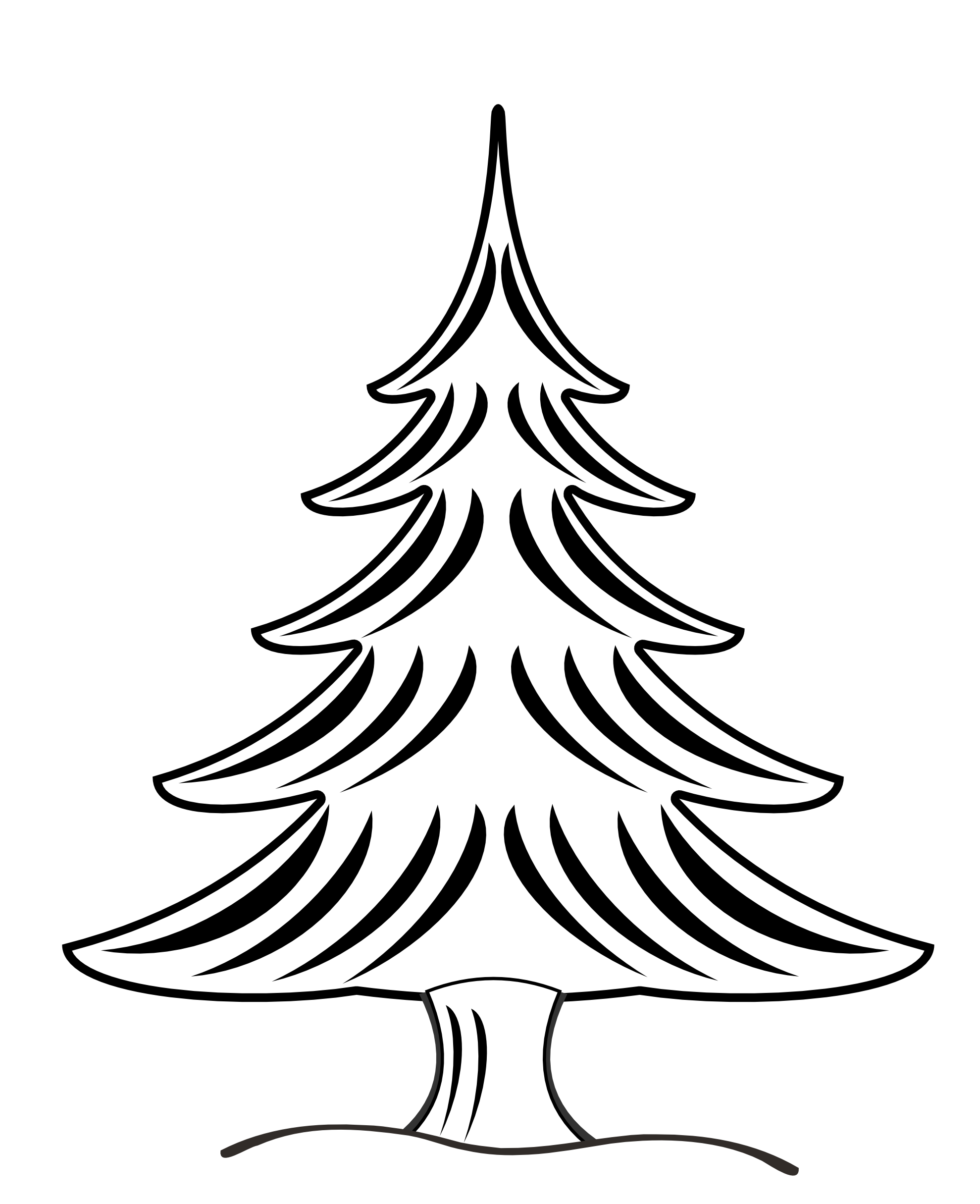 Christmas Tree clipart black and white Trees Clipartix art clipart black